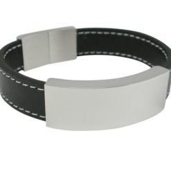 Stainless Steel 16mm Black Leather Id Bracelet