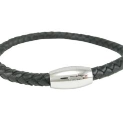 Stainless Steel And 6mm Woven Black Leather Bracelet