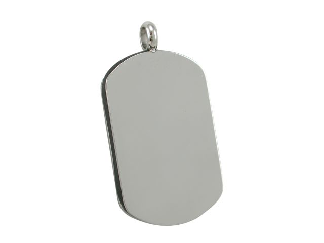 Stainless Steel 32x20mm Black Leather Edge Dog Tag (brushed One Side, Polished The Other) Pendant