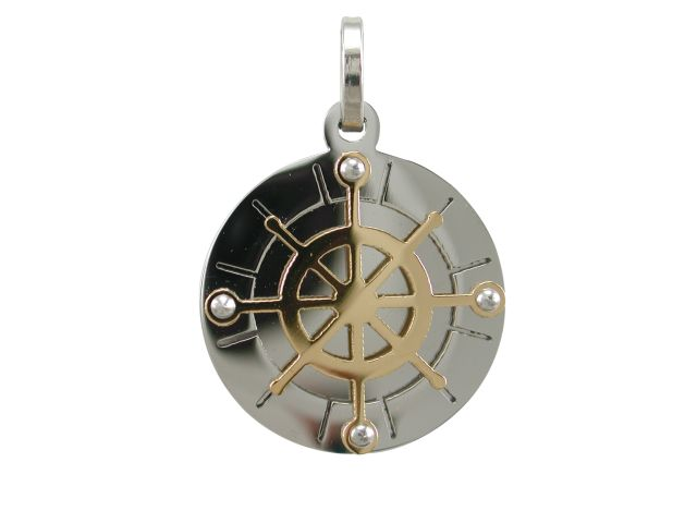 Stainless Steel 20mm Gold Ip Compass Pendant