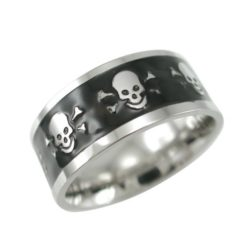 Stainless Steel 9mm Black Ipg Skull Ring