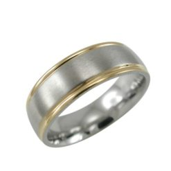 Stainless Steel 7mm Gold Ip Edge Matt Centre Ring