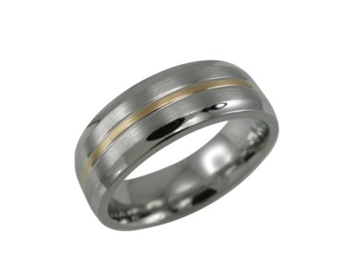 Stainless Steel 7mm Matt & Gold Ip Centre Ring