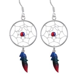 Sterling Silver 35x18mm Blue, Green & Red Anodised Single Feather Dream Catcher Drop Earrings