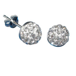 Sterling Silver 7mm White Crystal Half Ball Stud Earrings