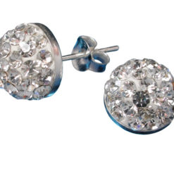 Sterling Silver 9mm White Crystal Infinity Half Ball Stud Earrings