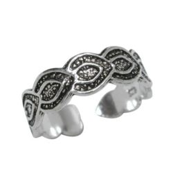 Sterling Silver Oxidised Pattern Toe Ring