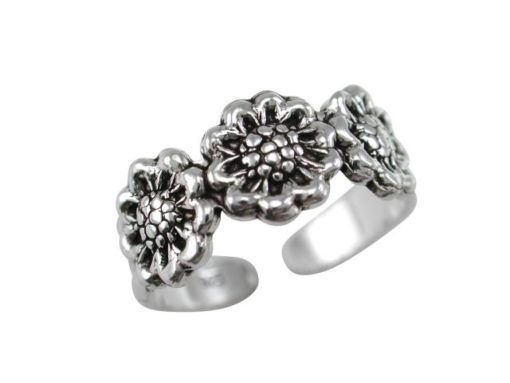 Sterling Silver 7mm Three Roses Toe Ring