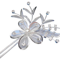Silver Plated  White Pearl & Crystal Flower Hair Pin