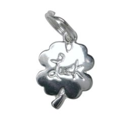 Sterling Silver 12x10mm Lucky Four Leaf Clover Charm With Split Ring