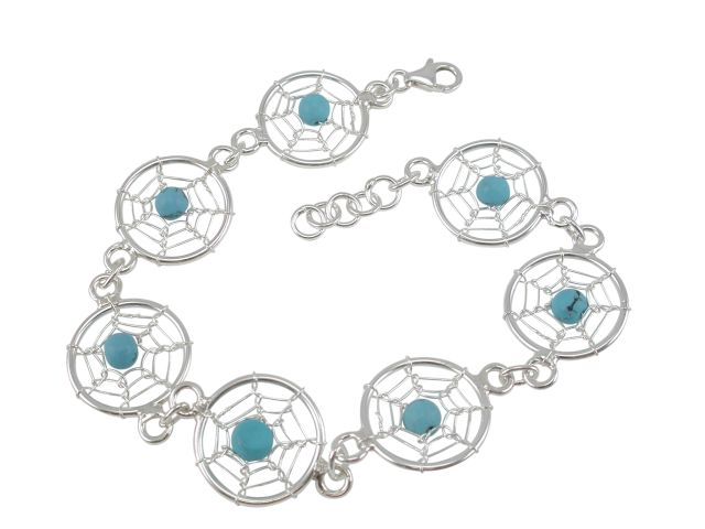 Sterling Silver 16mm Blue Turquoise Dream Catcher Bracelet 19-21cm