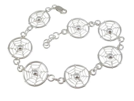 Sterling Silver 16mm Dream Catcher Bracelet 19-21cm