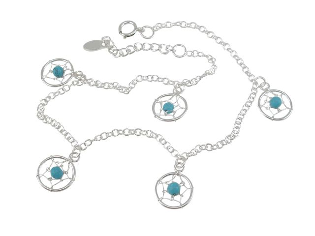 Sterling Silver 10mm Blue Turquoise Dream Catcher Anklet 22-25cm