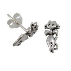 Sterling Silver 12x5mm Cat Stud Earrings