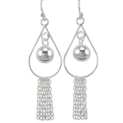 Sterling Silver 45x16mm Teardrop, Ball And Tassles Drop Earrings