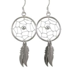 Sterling Silver 25x50mm Dream Catcher Drop Earrings