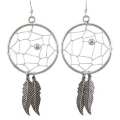Sterling Silver 30x55mm Dream Catcher Drop Earrings