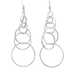 Sterling Silver 47x20mm Interlocking Circles Drop Earrings