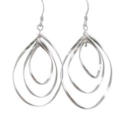 Sterling Silver 35x25mm Triple Turning Teardrop Drop Earrings