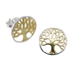Sterling Silver 11mm Round Gold Plated Tree Of Life Stud Earrings