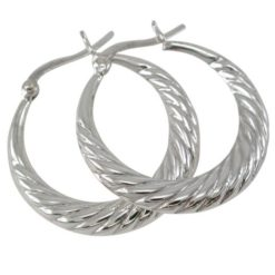 Sterling Silver 26x3mm Patterned Hoop Earrings