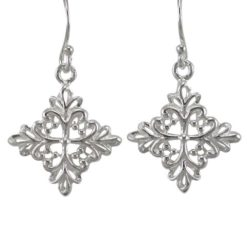 Sterling Silver 19x18mm Floral Filigree Drop Earrings