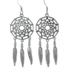 Sterling Silver 40x18mm Dream Catcher Drop Earrings