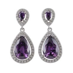 Sterling Silver 30x13mm Purple Teardrop Cubic Zirconia Stud Earrings