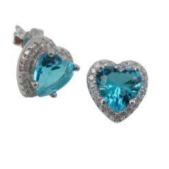 Sterling Silver 10x9mm Aqua Cubic Zirconia Heart Stud Earrings