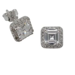 Sterling Silver 7.5mm White Cubic Zirconia Square Stud Earrings