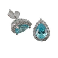 Sterling Silver 10x8mm Aqua Cubic Zirconia Teardrop Stud Earrings