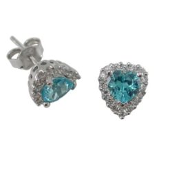 Sterling Silver 8x7mm Aqua Cubic Zirconia Heart Stud Earrings
