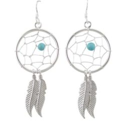 Sterling Silver 25x50mm Blue Turquoise Dream Catcher Drop Earrings