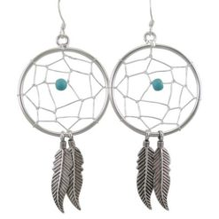 Sterling Silver 30x55mm Blue Turquoise Dream Catcher Drop Earrings