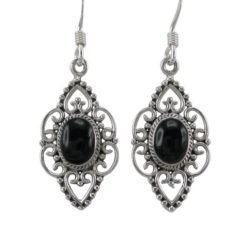 Sterling Silver 20x12mm Black Onyx Filigree Drop Earrings