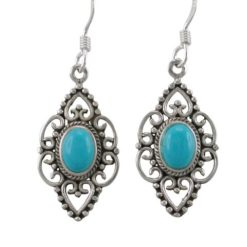 Sterling Silver 20x12mm Blue Turquoise Filigree Drop Earrings