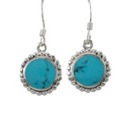 Sterling Silver 12mm Round Blue Turquoise Drop Earrings