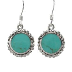 Sterling Silver 12mm Round Green Turquoise Drop Earrings