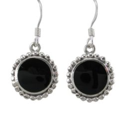 Sterling Silver 12mm Round Black Onyx Drop Earrings
