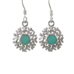 Sterling Silver 12mm Green Turquoise Frosted Drop Earrings