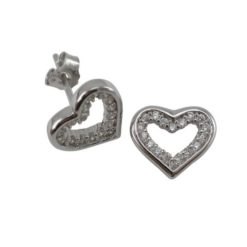 Sterling Silver 10x9mm White Cubic Zirconia Heart Stud Earrings