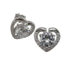 Sterling Silver 11x10mm White Cubic Zirconia Heart Stud Earrings