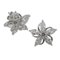 Sterling Silver 11mm White Cubic Zirconia Flower Stud Earrings