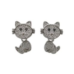 Sterling Silver 12x9mm White Cubic Zirconia Dangling Cat Stud Earrings