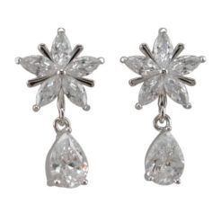 Sterling Silver 21x11mm White Cubic Zirconia Flower & Teardrop Stud Earrings