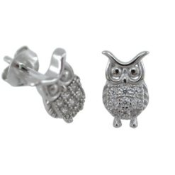 Sterling Silver 10x6mm White Cubic Zirconia Owl Stud Earrings
