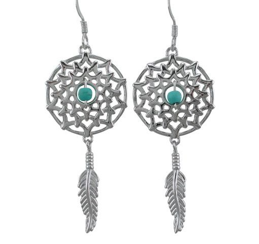 Sterling Silver 40x19mm Blue Turquoise Dream Catcher Drop Earrings