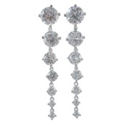 Sterling Silver 55x9mm White Cubic Zirconia Drop Earrings