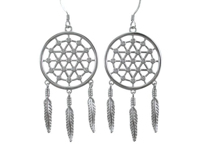 Sterling Silver 45x25mm White Cubic Zirconia Dream Catcher Drop Earrings