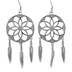 Sterling Silver 48x25mm White Cubic Zirconia Dream Catcher Drop Earrings